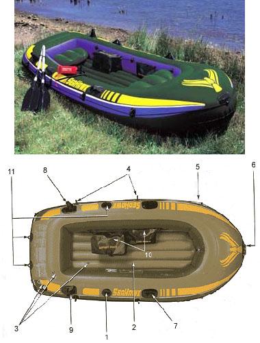 лодка 4-х местная intex seahawk 4