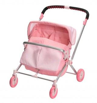 Коляска-трость розового цвета с эмблемой Baby born легкая, компактная.
